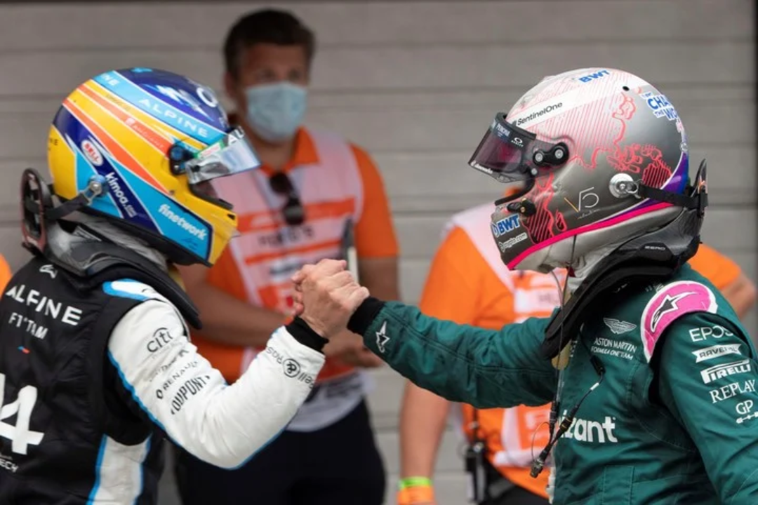 Ocon y Vettel- Hungria